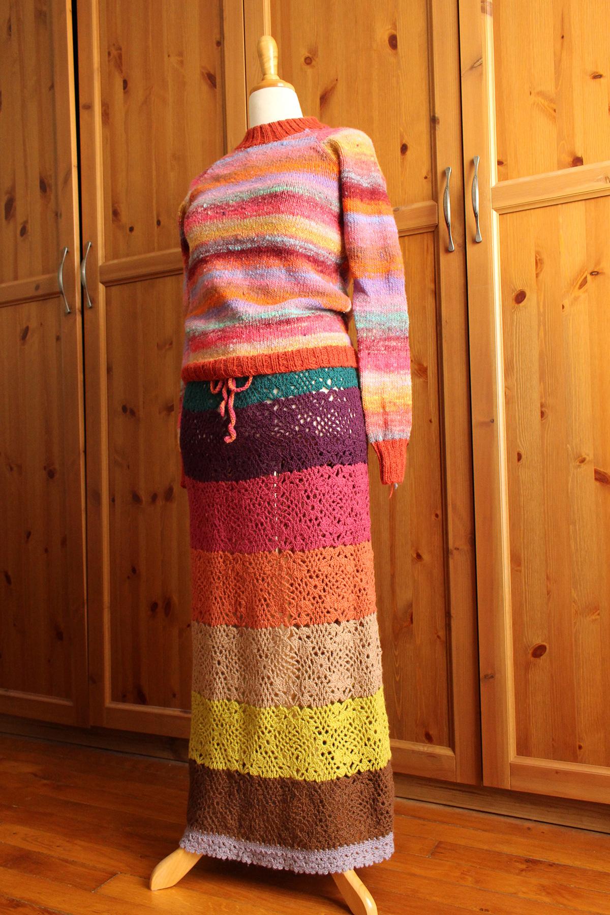 Pull en tricot & Jupe en crochet